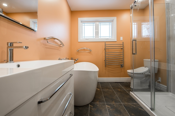 Bathroom renovation job we completed with rustic finish floor tiles (1)