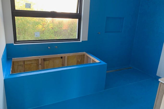 Bathroom waterproofing we just completed with blue waterproofing membrane
