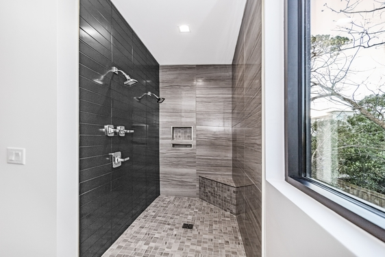 Floor and wall bathroom tiling job we completed with porcelain tiles (1)