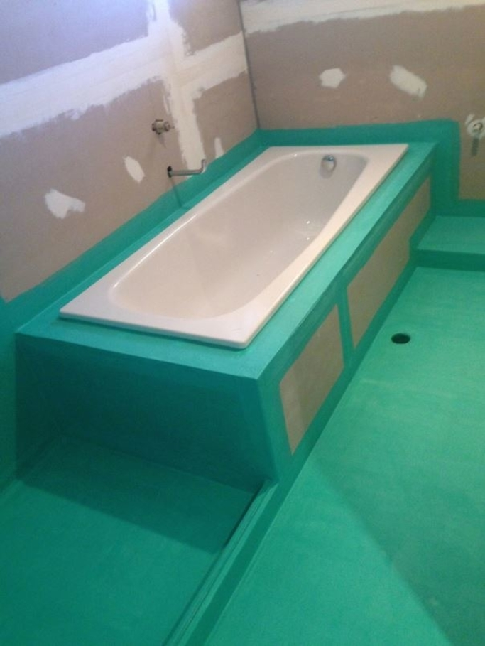 Our bathroom waterproofing job with green waterproofing membrane